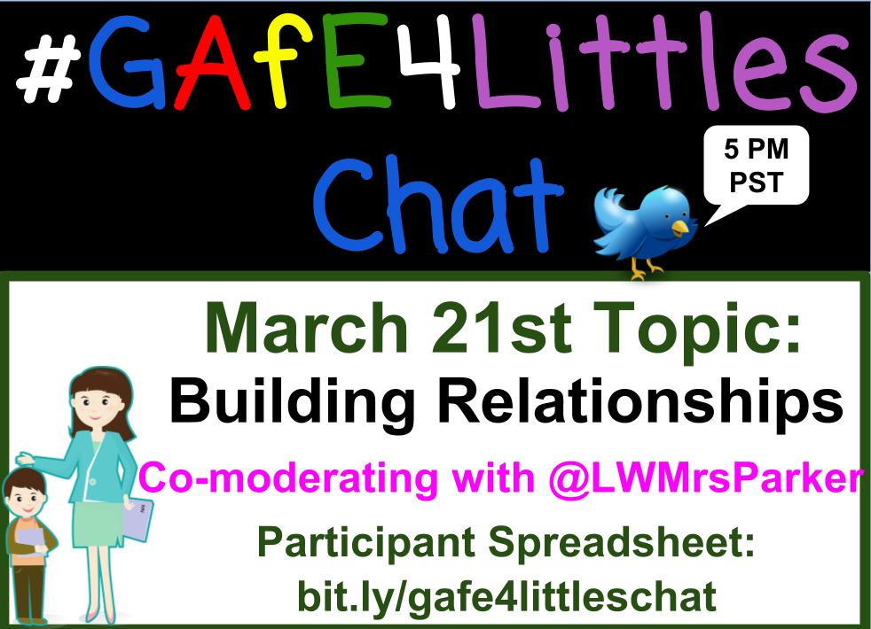 #gafe4littles chat time! We're discussing building relationships w/ Ss. Co-moderating w/ @LWMrsParker! Qs are here: https://t.co/Yh2qbFkC6C https://t.co/UJ5HZsAJYD