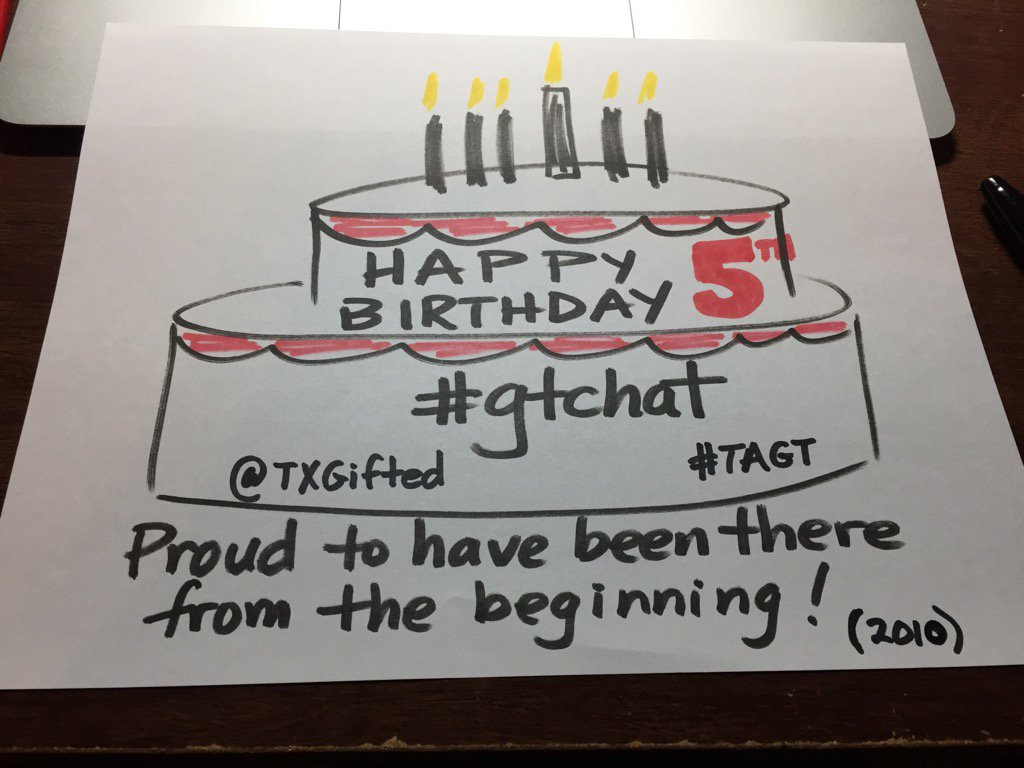 Happy Anniversary #gtchat Special thanks to #gtchatmod & @TXGifted #TAGT for keeping it going. Shoutout to @jofrei https://t.co/3FZ1k89mtw