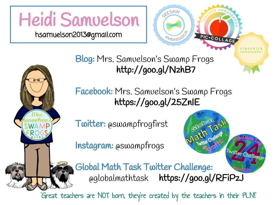 "Hello All! I'm Heidi from ""Mrs. Samuelson's Swampfrogs""! I'm honored to be your #PicCollageChat tonight! Looking forward to sharing ideas! https://t.co/PgU2fW0cZu"