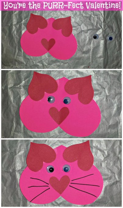Valentine Heart Cat Craft For Kids