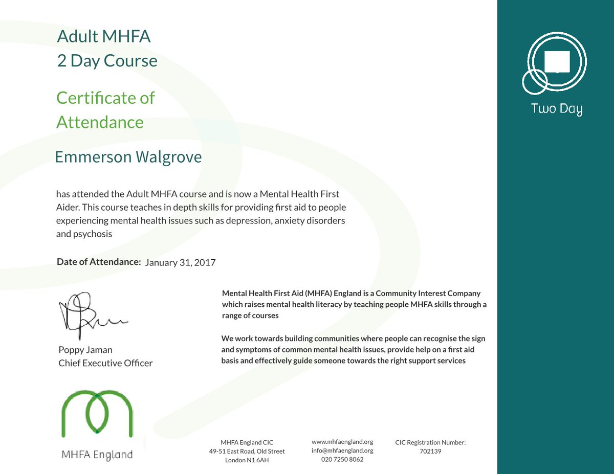 Emmerson Walgrove On Twitter Certificate Has Arrived From Mental
