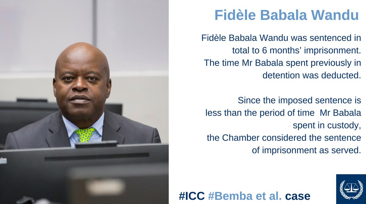 Fidèle Babala Wandu sentenced to 6 months' imprisonment #art70 #ICC <br>http://pic.twitter.com/d56rdTMMKQ