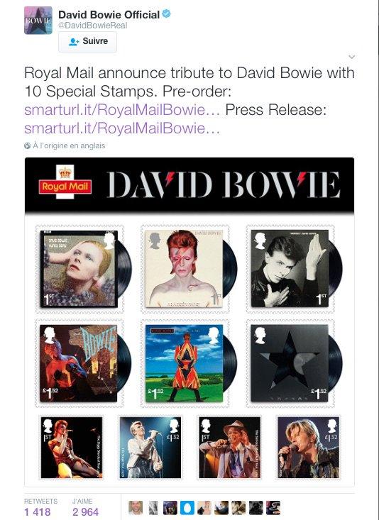 Mars 2017 - Les timbres qui viennent d&#39;ailleurs... #DavidBowie #RoyalMailBowie <br>http://pic.twitter.com/3MNsQtsSe3