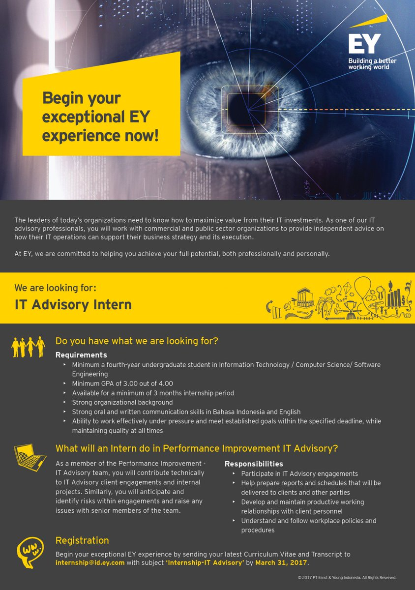 "EY Indonesia on Twitter: ""Looking for an internship? #EYIndonesia is looking for IT Advisory Intern. Apply now: https://t.co/NxHge5qgQP ..."