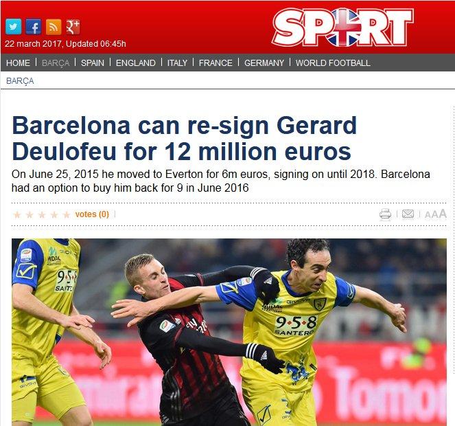 Le #Barcelona peut racheter Gérard #Deulofeu pour €12M selon Sport. L&#39;ailier espagnol est actuellement prêté à l&#39;AC #Milan par #Everton.<br>http://pic.twitter.com/LxWa0i6xfJ