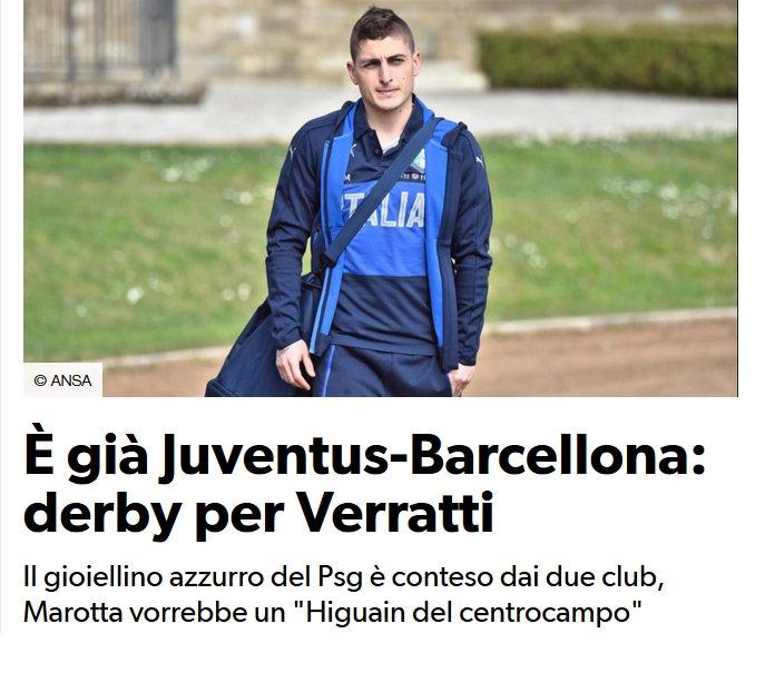 Le FC #Barcelona et la #Juventus se battent pour le milieu du  #PSG, Marco #Verratti (24) selon le Corriere dello Sport<br>http://pic.twitter.com/okIRMXSWCk