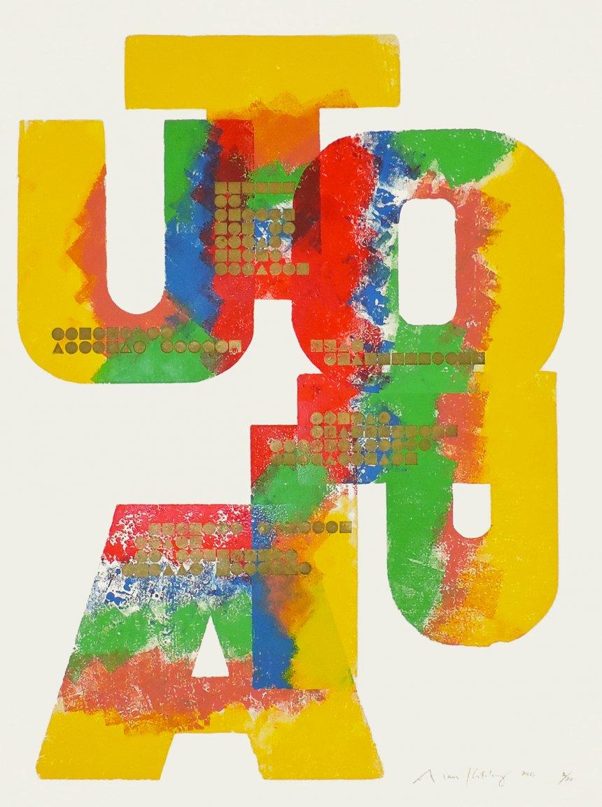 #utopía #tipografía #grabado Alan Kitching / &quot;Island of Utopia&quot;  (2016) <br>http://pic.twitter.com/G3poSAj84o