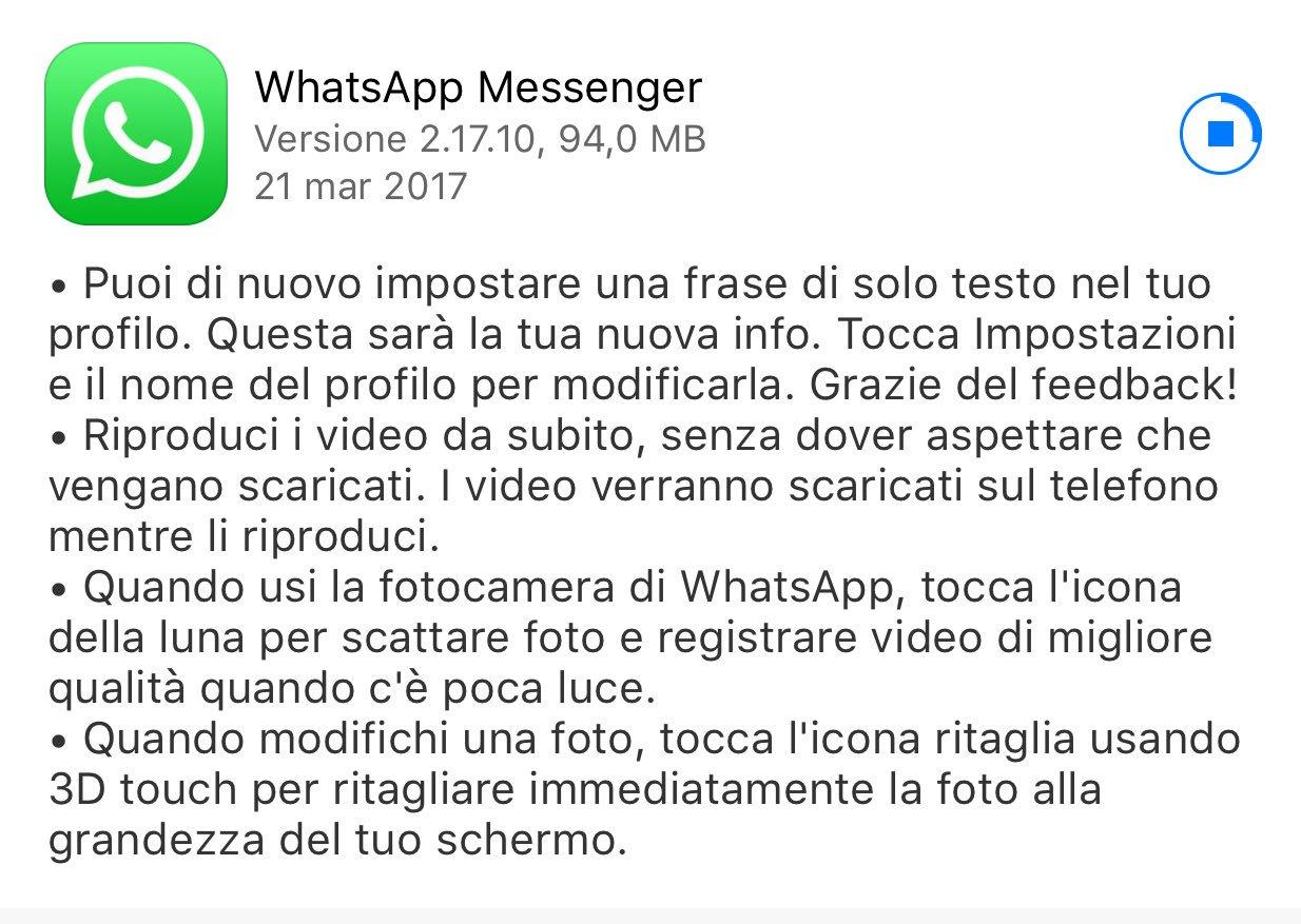 WhatsApp tornano i vecchi stati