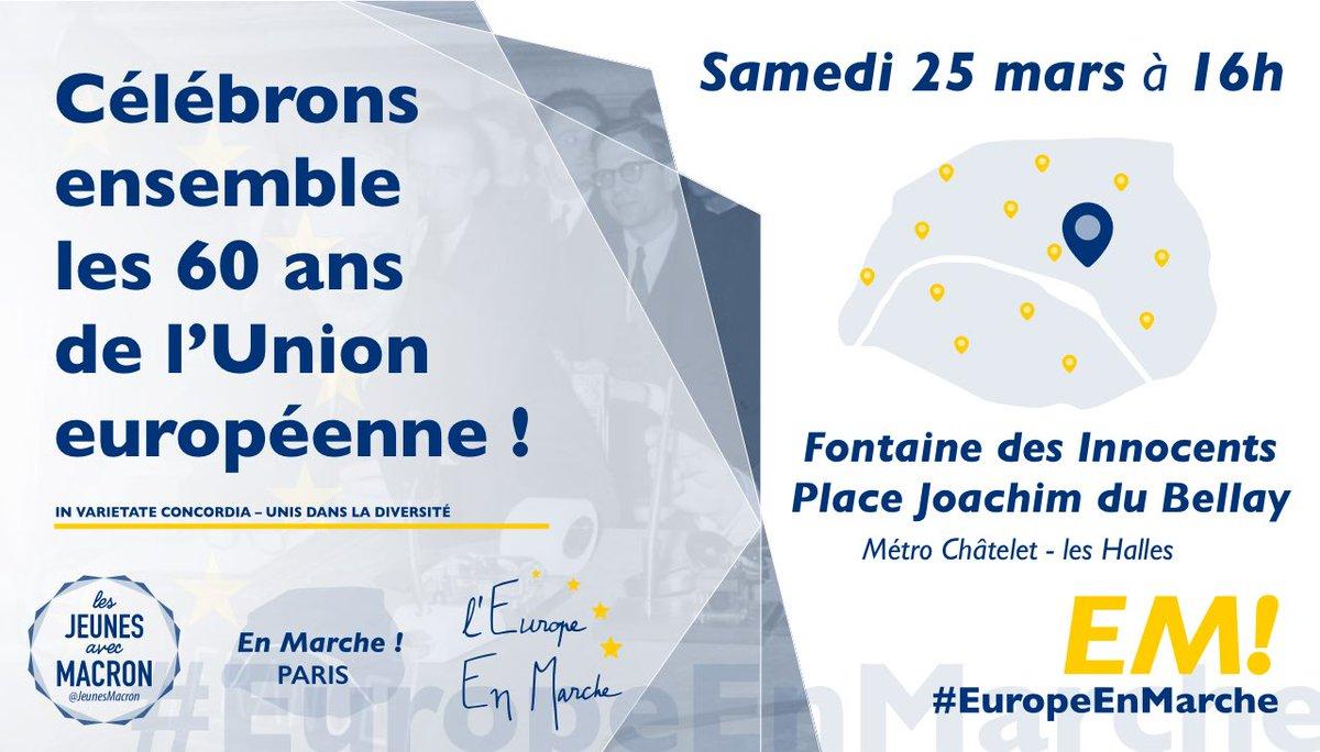 Célébrons les 60 ans de l&#39;#UE samedi 25 mars avec @JeunesMacron, @EuropeEnMarche et #EnMarche Paris, plus d&#39;infos:  http:// bit.ly/EuropeEnMarche  &nbsp;  <br>http://pic.twitter.com/8uXf0NbKIy
