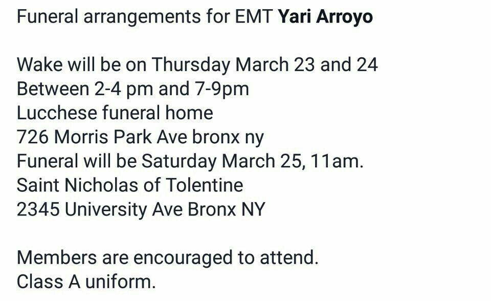 NYCFireWire On Twitter Funeral Information For Line Of Duty Death EMT Yari Arroyo Tco 8N2MNgrViH