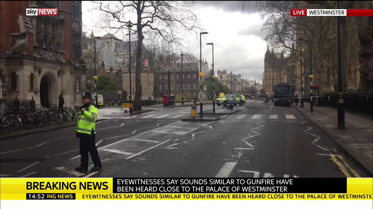 Sounds similar to gunfire heard outside #Parliament @RobNisbetSky is o...