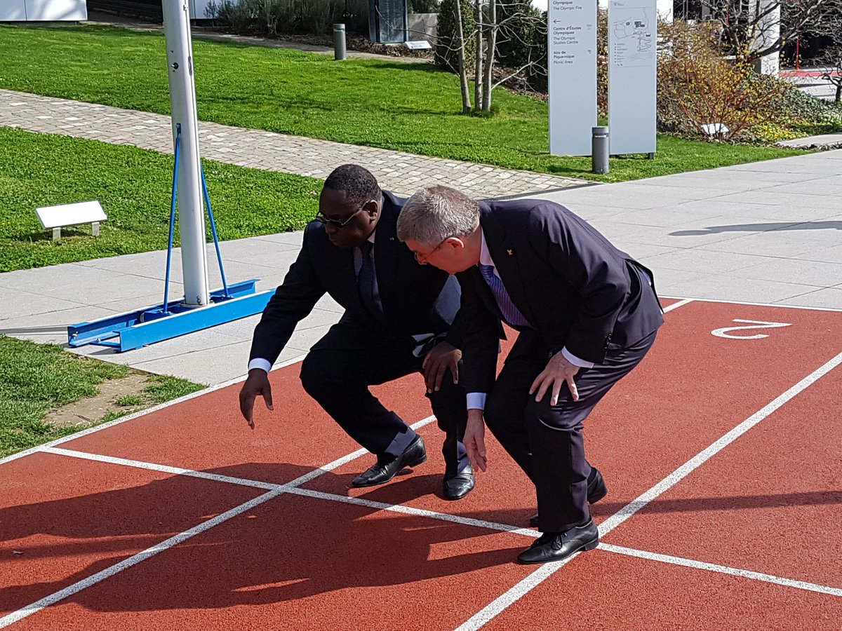 More sprint training at the Olympic Museum for IOC President Bach and...