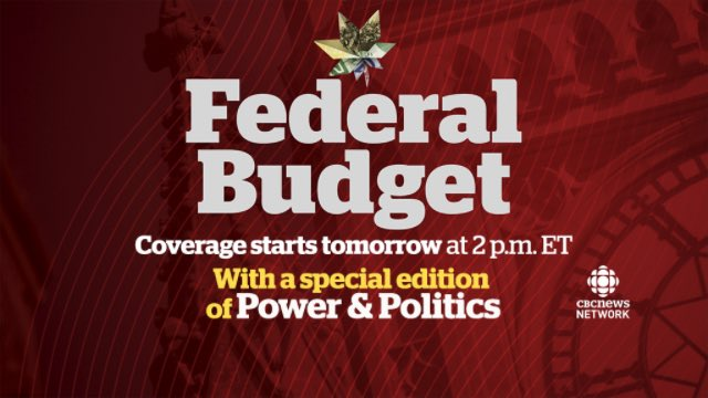 It's Budget Day! @PnPCBC starting at 2ET with @amandaalvaro @powerstim...
