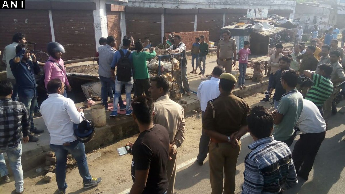 Illegal slaughter houses and meat shops sealed by Police and Nagar Nigam in Lucknow, UP.