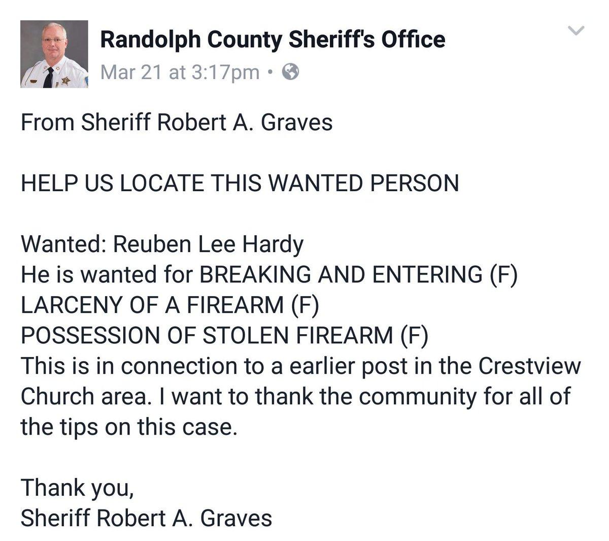Wanted by #RandolphCo sheriff's dept. Wanted: Robert A Graves #NC #Randolph #Asheboro #AsheboroNC