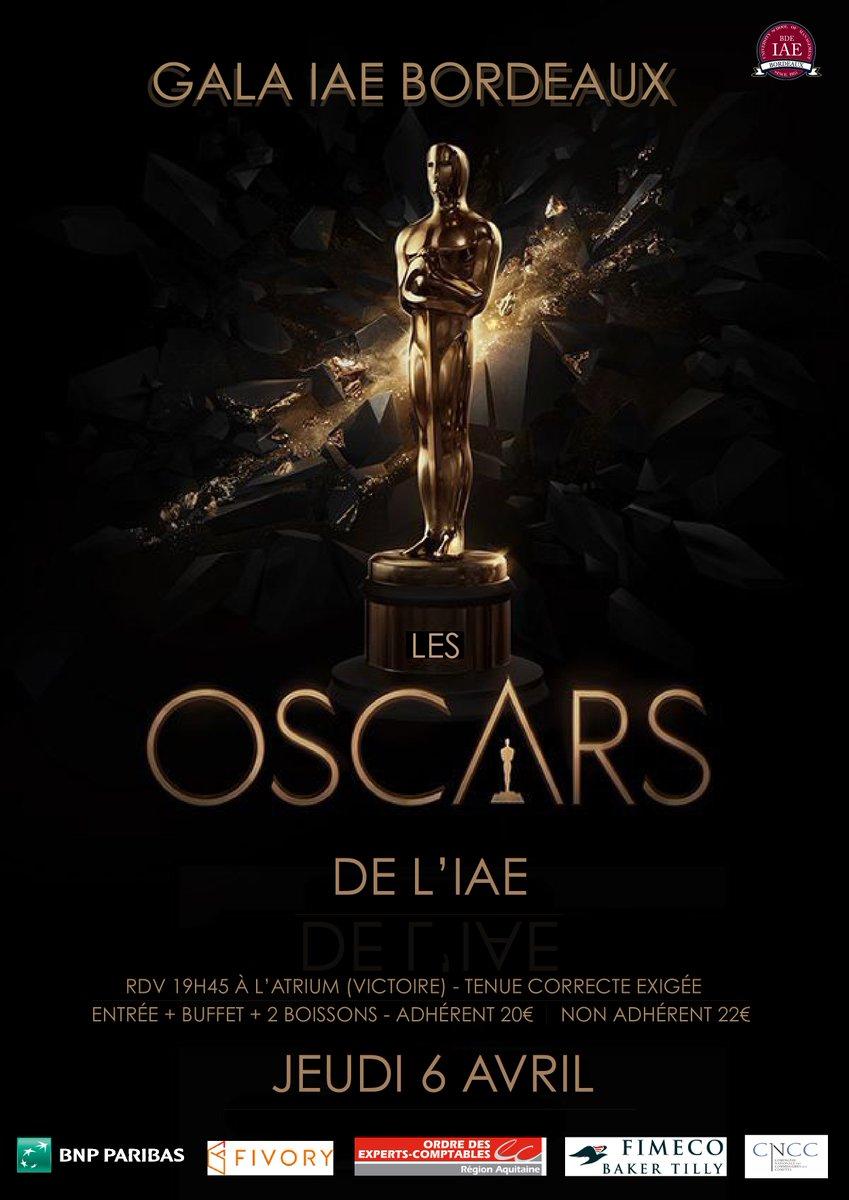 6 avril 19h45, gala IAE Bordeaux organisé par le @bde_iaebordeaux &gt;&gt; Pré-ventes dès demain dans le hall au rdc ! #Oscars #Gala #Victoire<br>http://pic.twitter.com/5mmurCVV9C