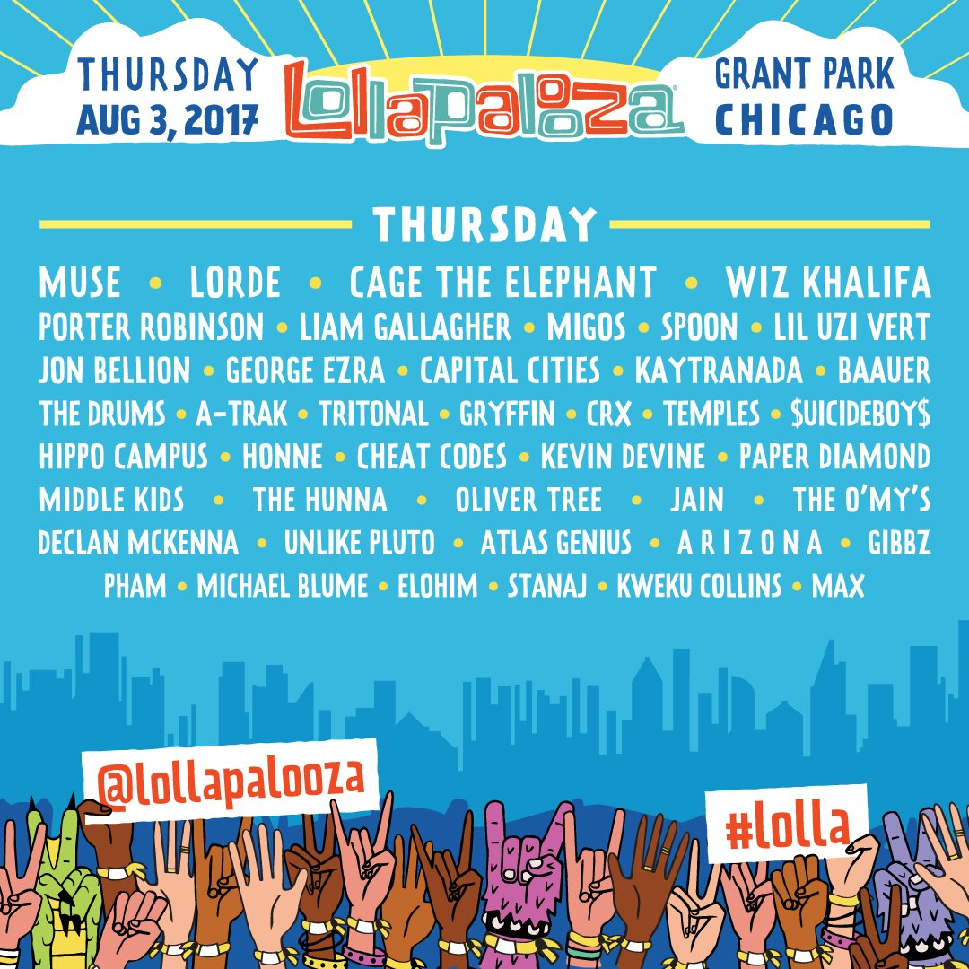The #Lolla Lineup has been revealed, grab your 1-Day Tickets starting at 10am CT TODAY! https://t.co/AXuWUknbob https://t.co/a293pf7eFv