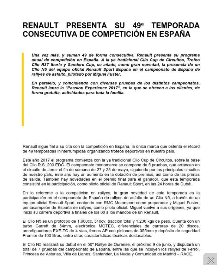Comunicado de @Renault_Oficial. Miguel Fuster estará en 7 pruebas: Ourense, Ferrol, Asturias, Llanes, Cantabria, La Nucía y Madrid. #CERA <br>http://pic.twitter.com/YphFNTtaQK