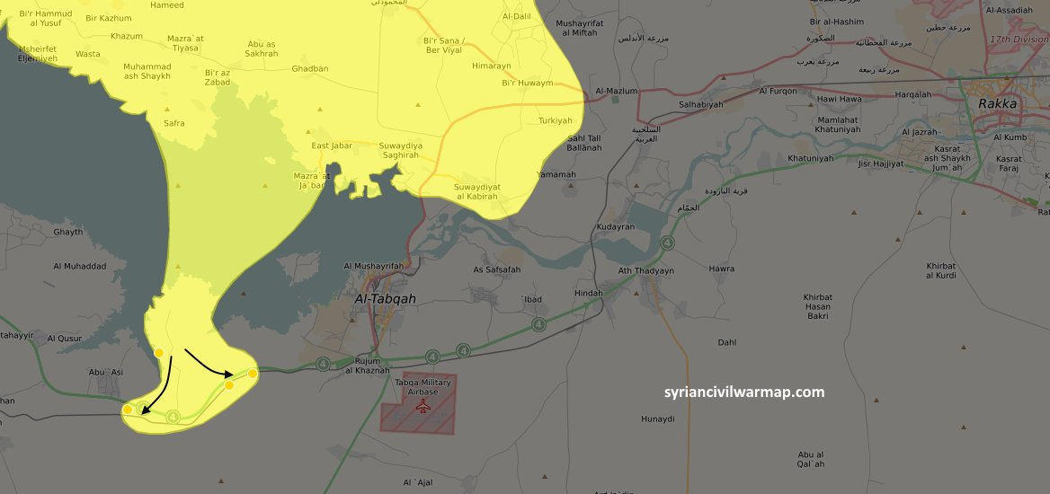UPDATED MAP: After being air lifted over the Euphrates river, SDF capture several towns  @CivilWarMap-   Mahttps://t.co/rzOw7epufEp: