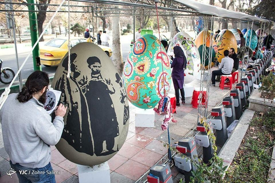 How bout them eggs? Creative Iranians paint oversize eggs during #Nowruz celebrations in Tehran.