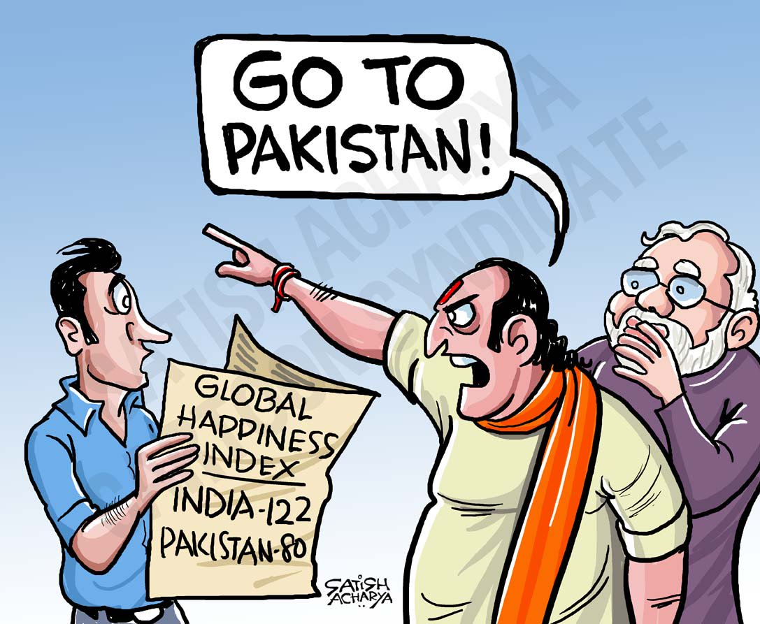 "Satish Acharya on Twitter: ""'Go to Pakistan' #cartoon #happinessindex… """