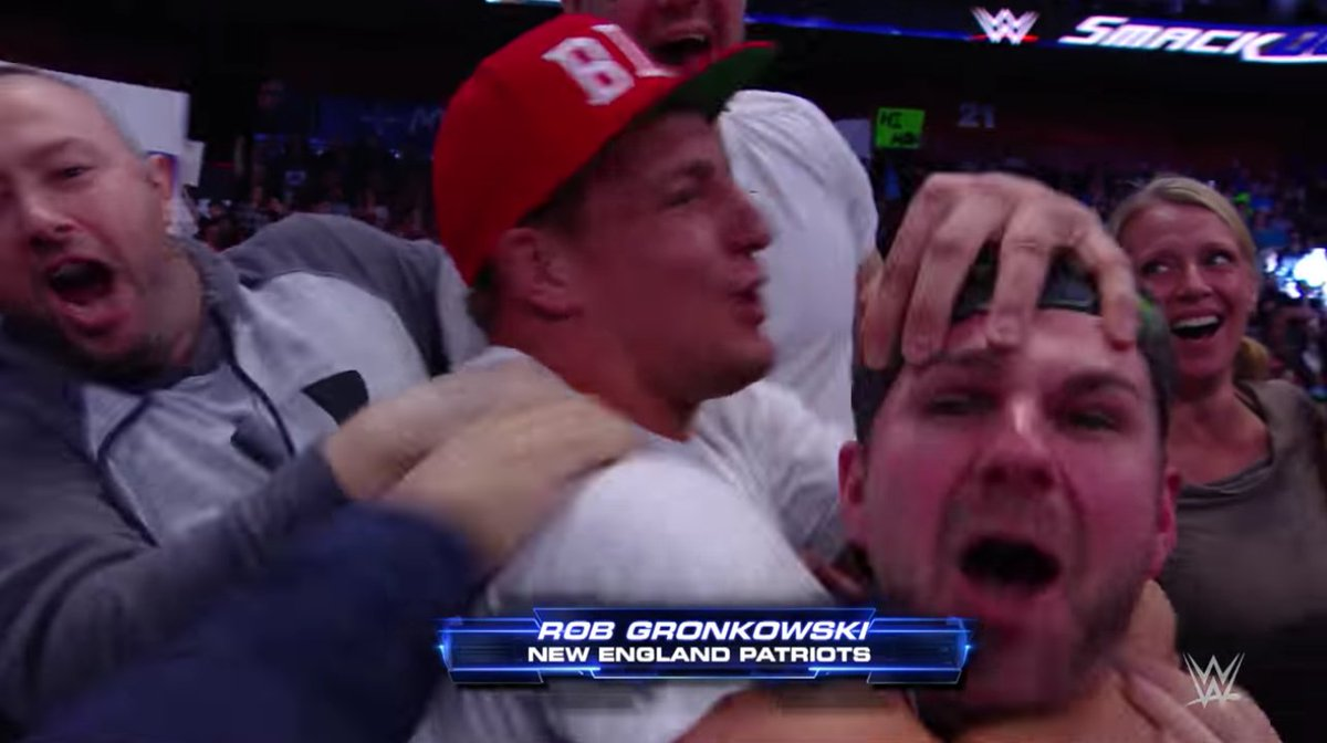Gronk got into the WWE-spirit at SmackDown and put his boy in a headlo...