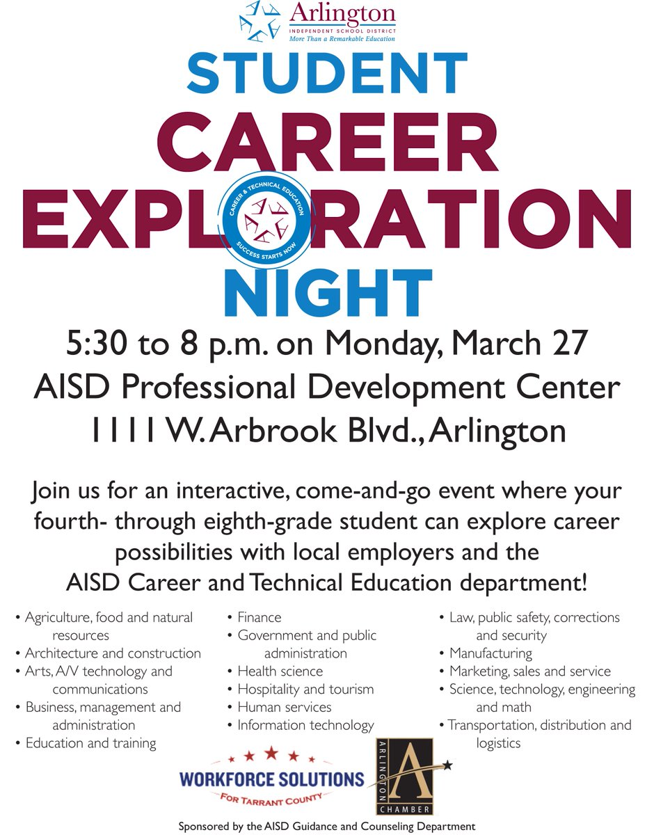 career tech ed ctearlingtonisd twitter aisd 4th 8th graders join us 5 30 8pm on mon 27 for student career exploration night be future ready aisdpdc ctearlingtonisdpic com