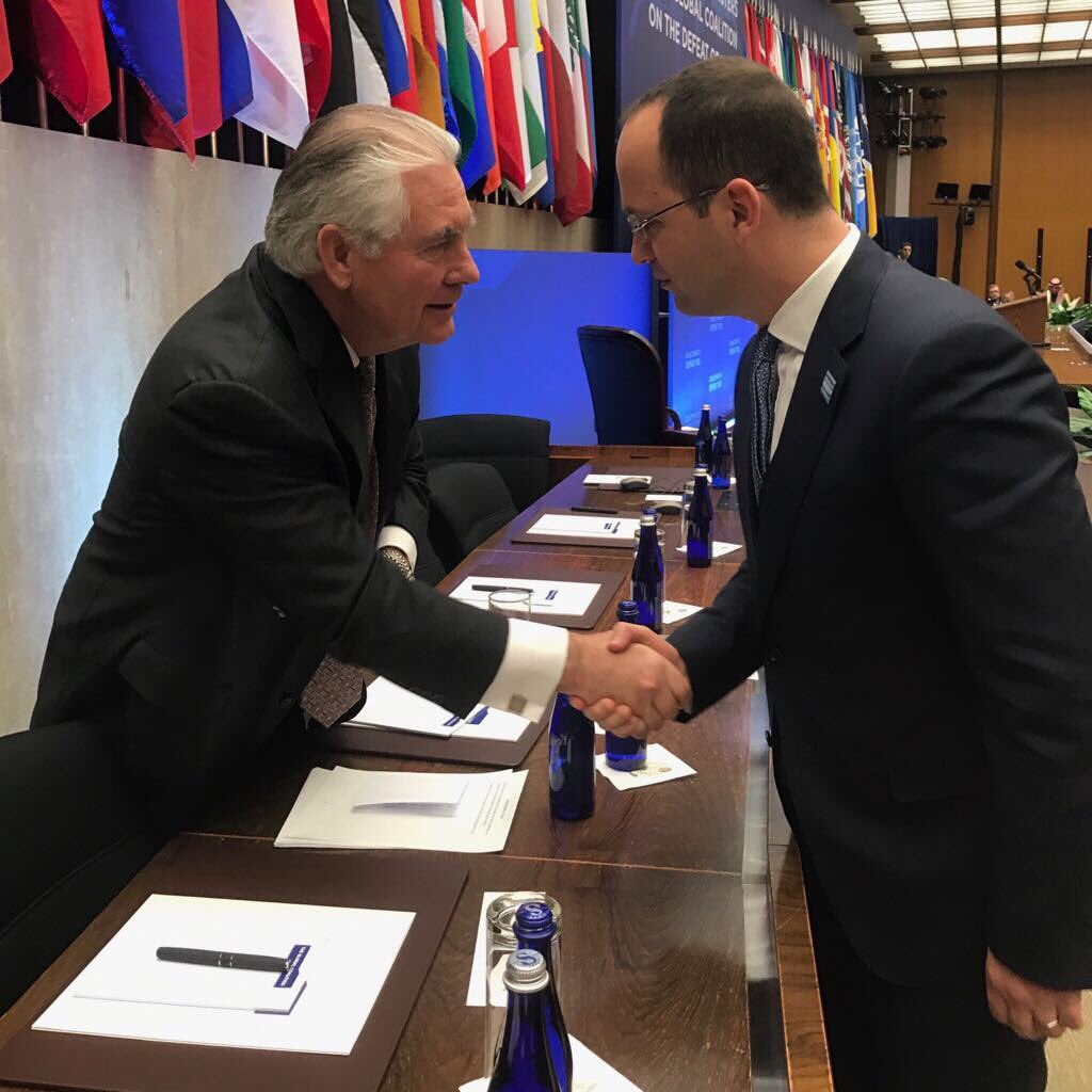Good to meet Secretary #RexTillerson @StateDept &amp; confirm we stand together in #GlobalCoalition to defeat #ISIS. #Albania #USA<br>http://pic.twitter.com/iGDGP6KUzo