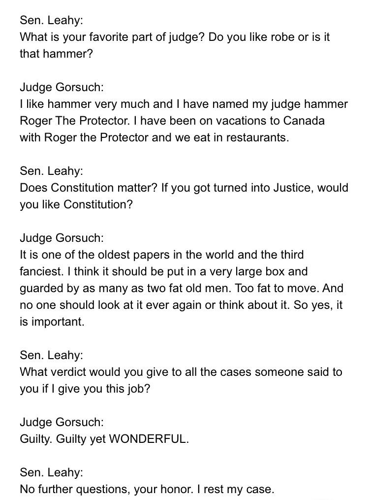 Wow. Shocking moment at Gorsuch confirmation hearing. https://t.co/lPr...