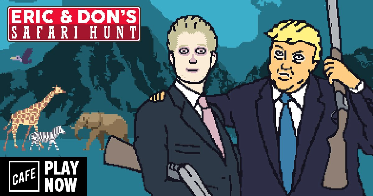 Help the little Trump boys earn Daddy's Love in our newest game, Eric and Don's Safari Hunt! cafe.com/cafe-presents-…