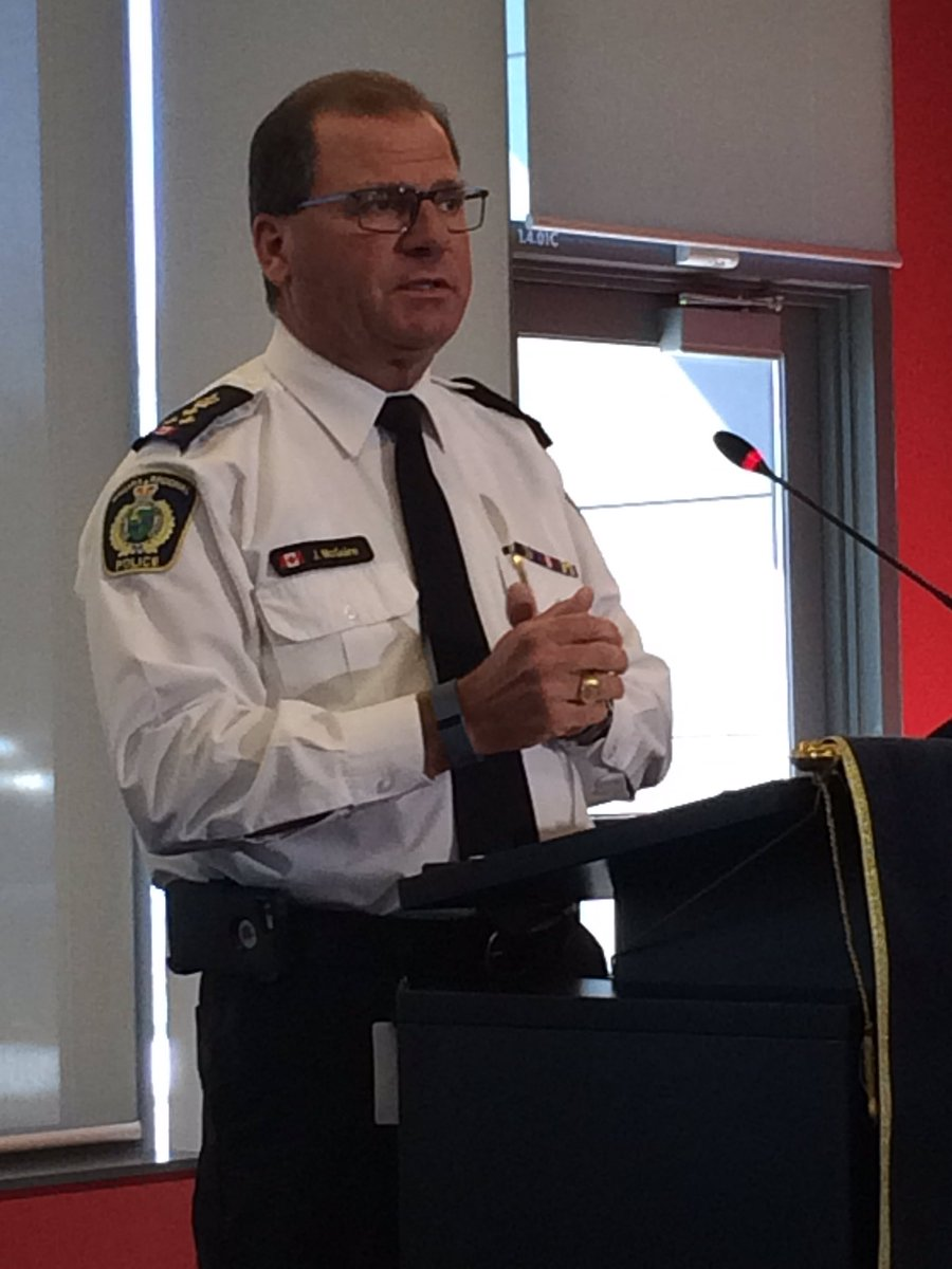 Chief McGuire's voice breaks as he thanks media for support and work o...
