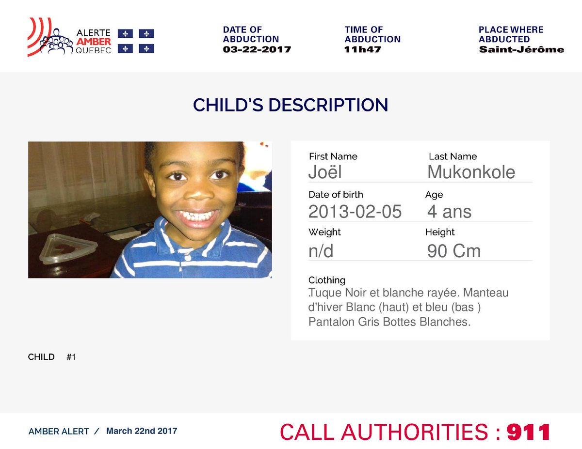 Details on the missing Quebec child. #amberalert #ALERTEamber https://...