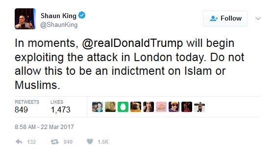 Shaun King remains more concerned about the #London terror attack maki...