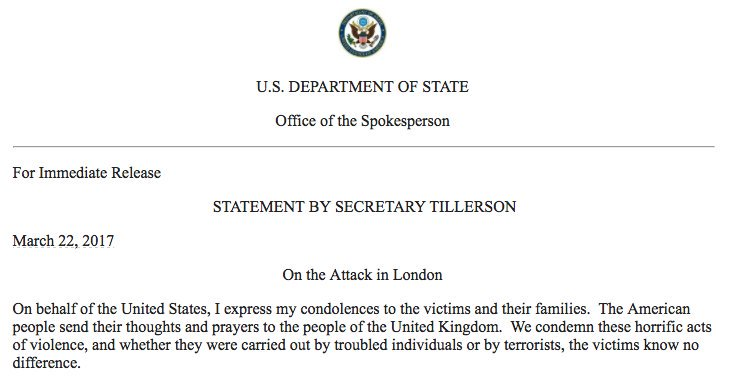 US Secretary of State #RexTillerson releases a statement on Westminster attack.  https:// on.rt.com/86l2  &nbsp;  <br>http://pic.twitter.com/cpKCqGXWXM