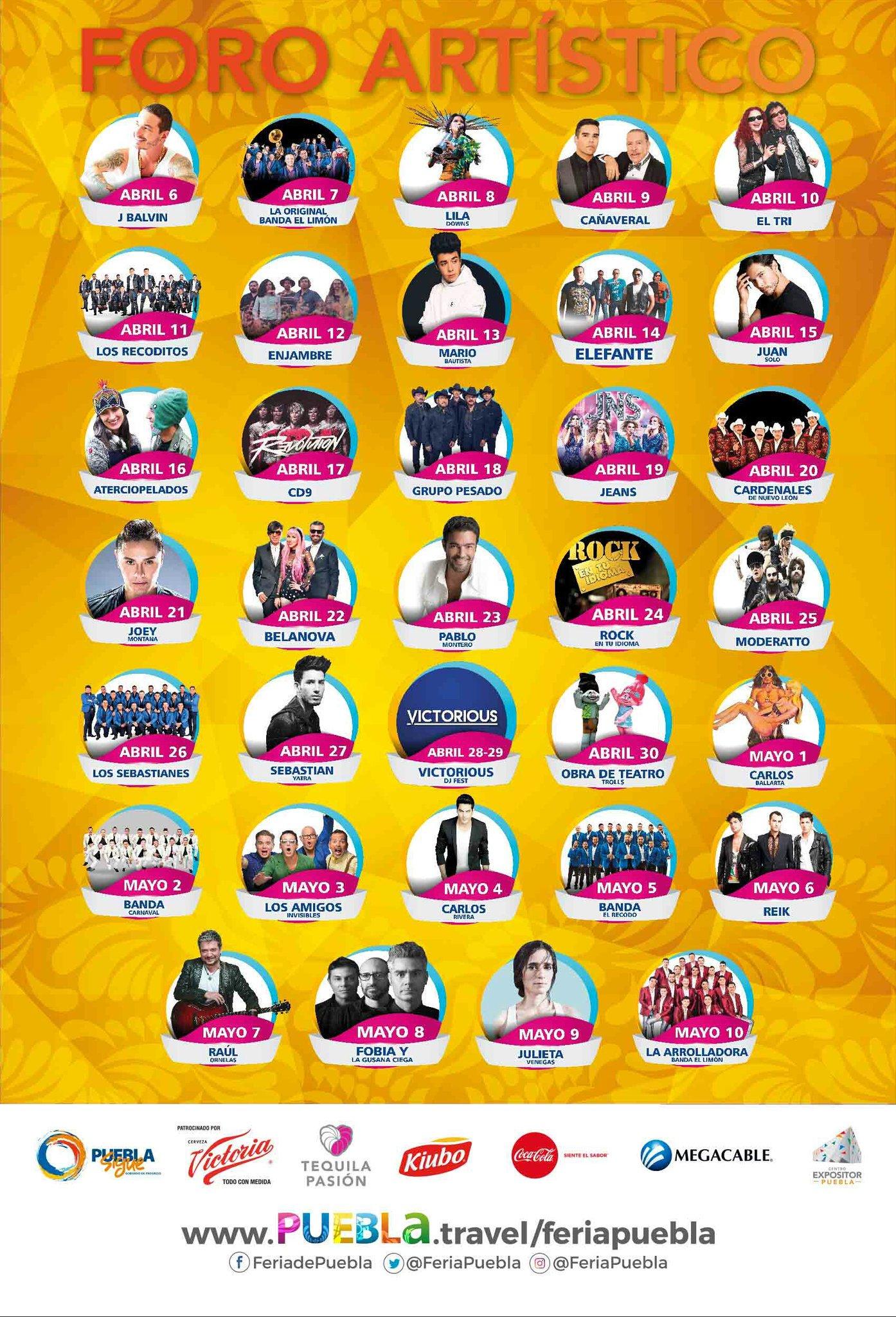 Cartelera oficial de la Feria de Puebla 2017