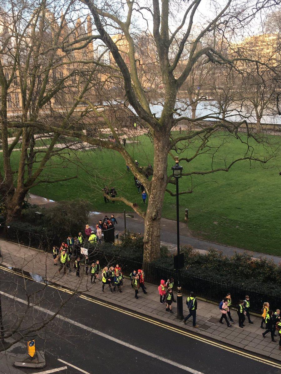 Children being evacuated from parliament through Victoria Gardens http...