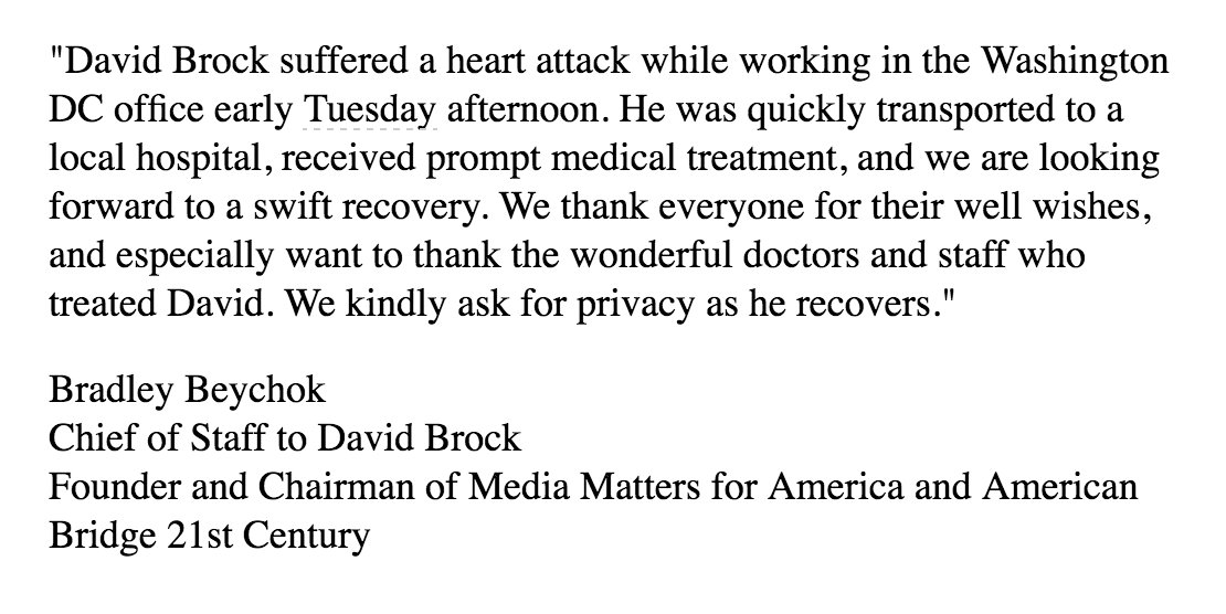 David Brock suffered a heart attack yesterday afternoon https://t.co/7...