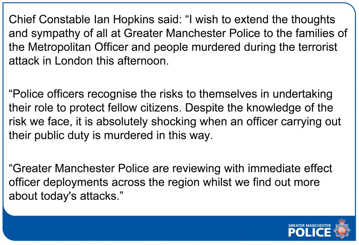 Statement from Chief Constable Ian Hopkins on the terrorist attack in...