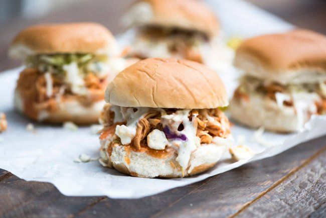 Slow Cooker BBQ Buffalo Chicken Sliders