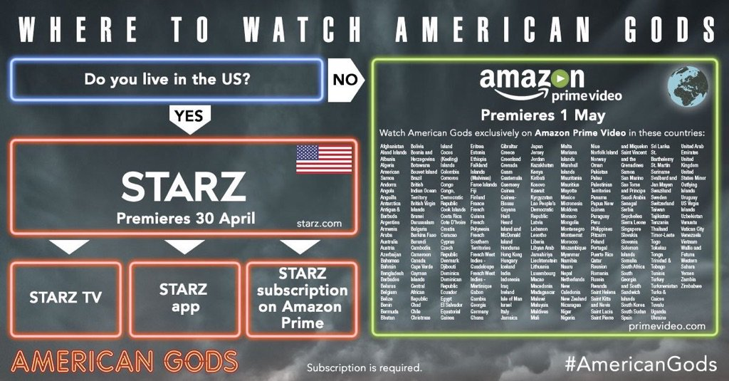 American Gods can be watched in allllllll these countries @AmericanGodsSTZ https://t.co/r31KLAQ1tl