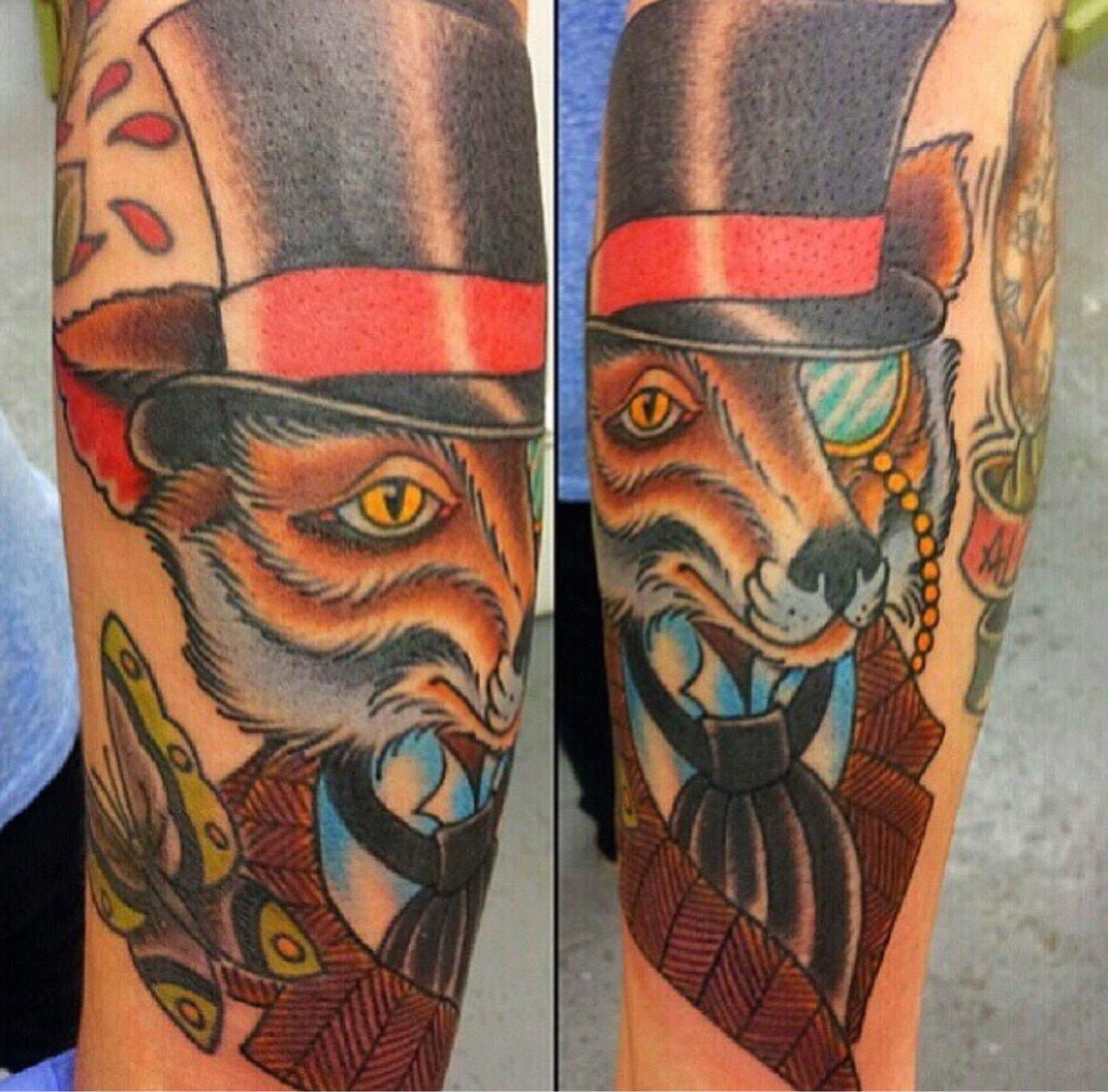 &quot;Dapper Fox by #Kelly #Edwards at Element in SATX&quot; #tattoos #ink #pics<br>http://pic.twitter.com/K3UXGBIwVS