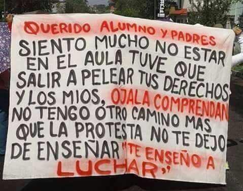 #MarchaFederalEducativa Cartel de una docente hacía sus alumnos. 'No t...