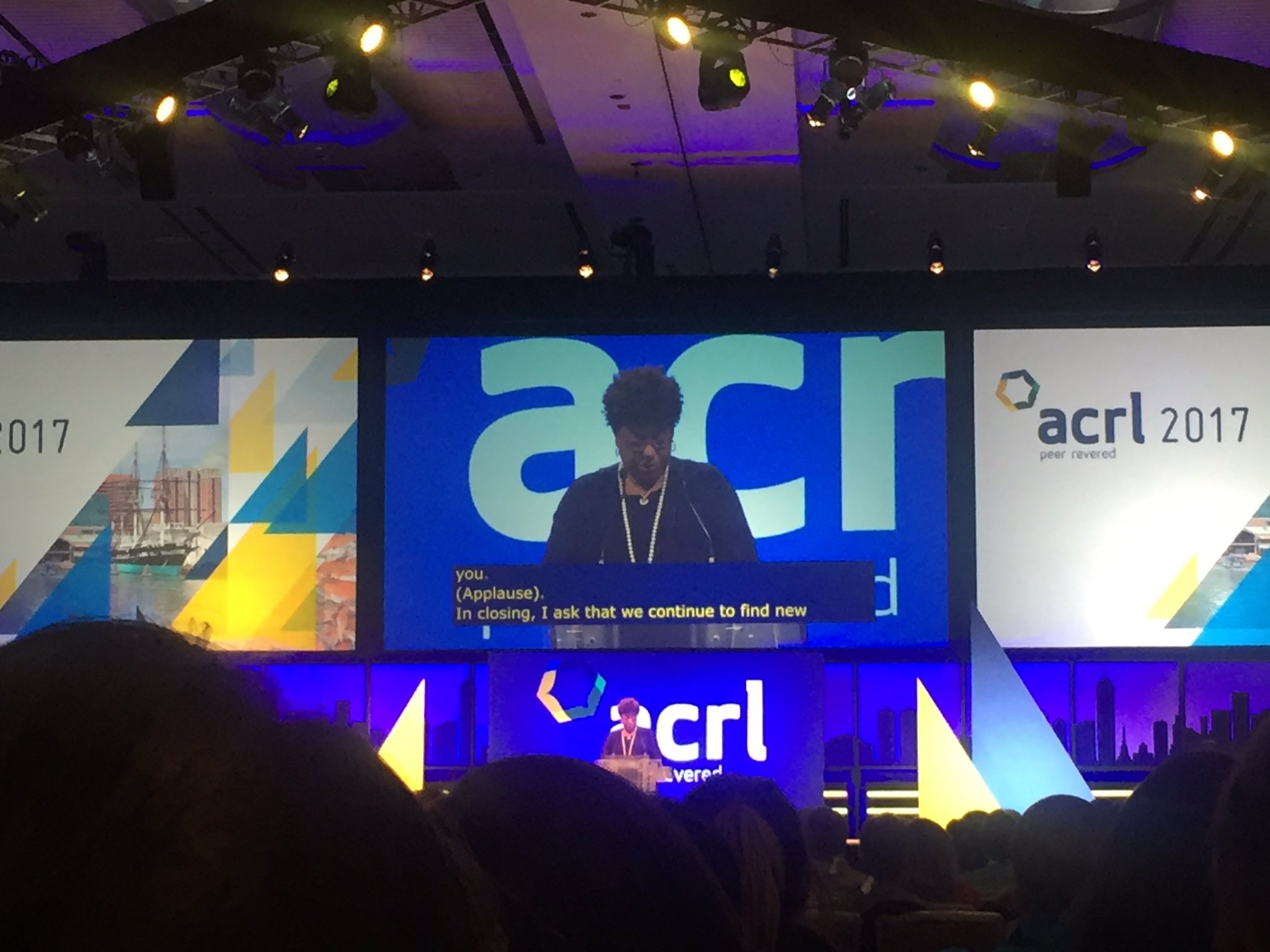 Great speech by Loretta Parham, Academic Librarian of the Year (and first time a librarian from an HBCU is recognized) #acrl2017 https://t.co/nDzUr2f6wG