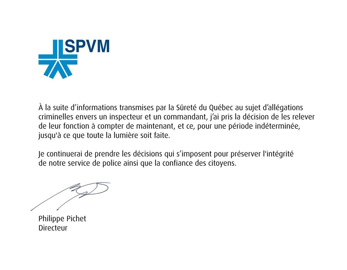 Message du @Dir_Pichet : Le #SPVM suspend deux de ses cadres. https://...
