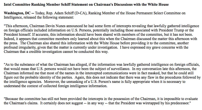 Statement from Adam Schiff, top Democrat on the House Intelligence Com...