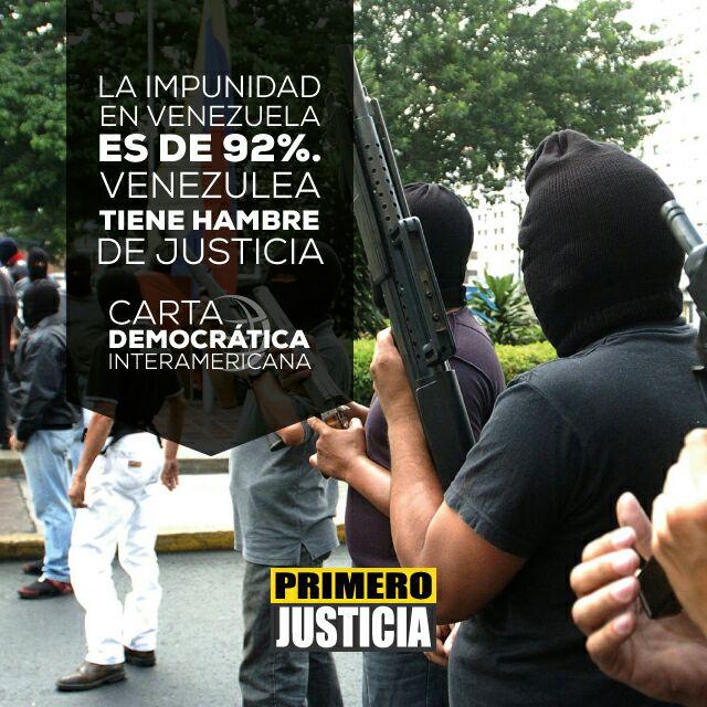 92℅ De Impunidad Venezuela tiene hambre de Justicia #CartaDemocratica...