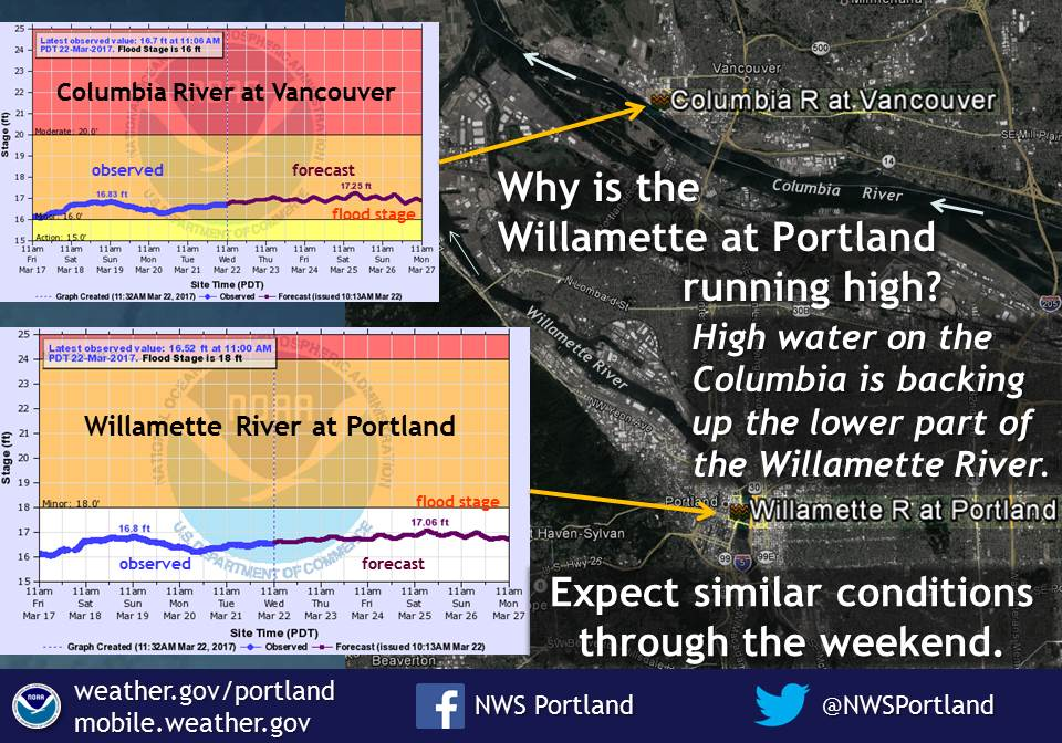 Many have noticed the Willamette River in Portland running high this week. The Columbia River is the reason for this! #pdxtst #orwx #wawx<br>http://pic.twitter.com/nJQubC8XpT