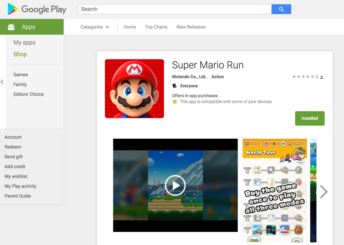 Super Mario Run Available for Download on Google Play - https://t.co/Z...