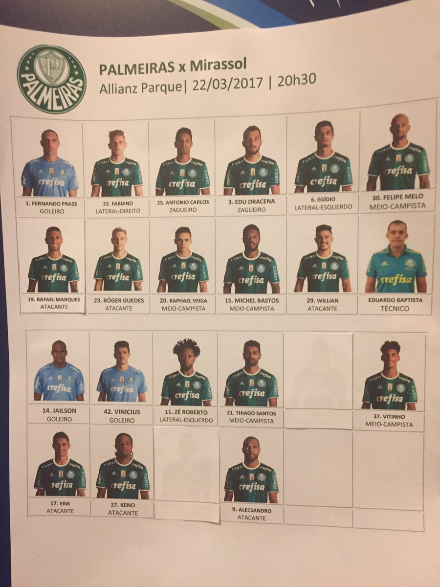 Palmeiras escalado. Rafael Marques no time titular https://t.co/hOY3lu...