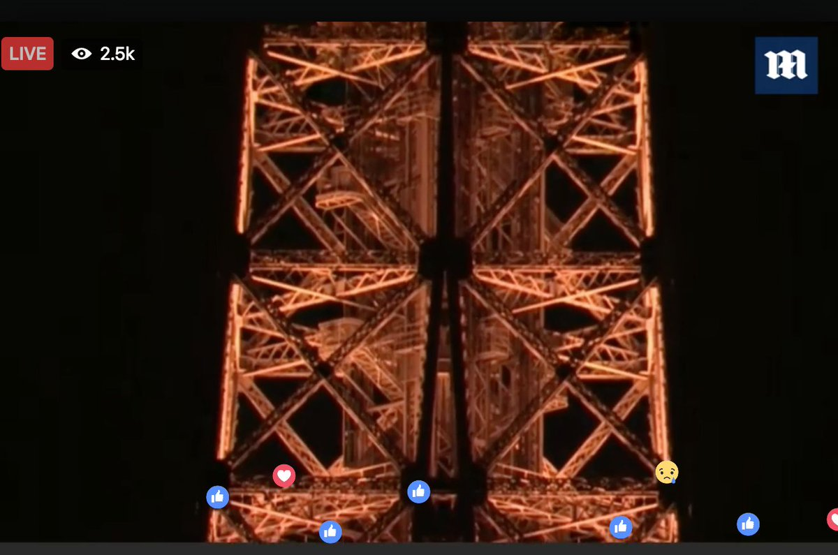 The lights are being dimmed on the Eiffel Tower in honour of victims o...